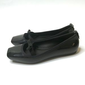 Melissa Square Toe Black Flats with Elastic Bow